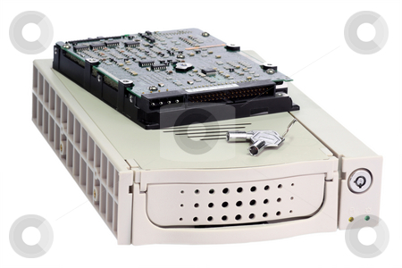 Removable hard disk stock photo, Removable hard disk chassis on white background by Birgit Reitz-Hofmann
