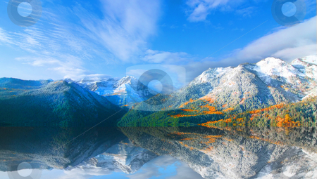Rocky Mountains stock photo, High Mountain Flat in the fall showing all the fall colors with mountains in the background by Mark Smith