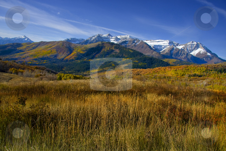 Fall stock photo, High Mountain Flat in the fall showing all the fall colors with mountains in the background by Mark Smith