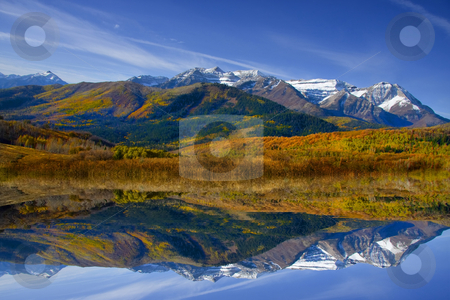Fall Refelctions stock photo, High mountain lake in the fall showing autumn colors reflected in the water by Mark Smith