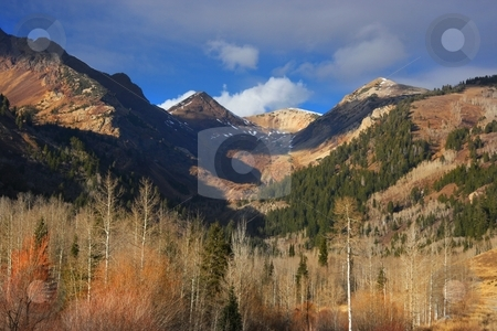 Autumn stock photo, Fall colors on a high mountain meadow with blue sky and clouds by Mark Smith