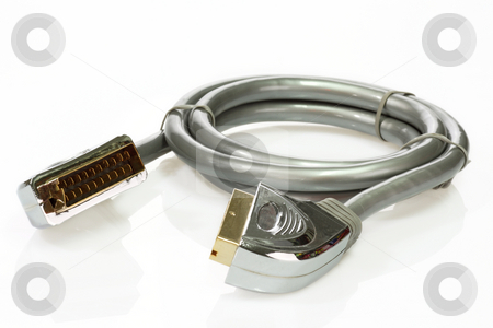 Scart cable stock photo, Scart cable over white background by Birgit Reitz-Hofmann