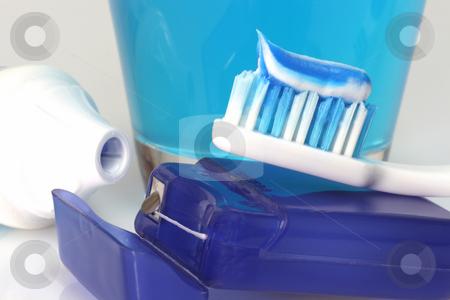 Dental care stock photo, Dental care products on bright background by Birgit Reitz-Hofmann