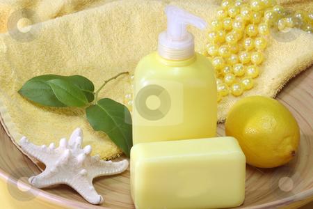 Fluid soap stock photo, Lemon Soap and yellow accessories - body care by Birgit Reitz-Hofmann