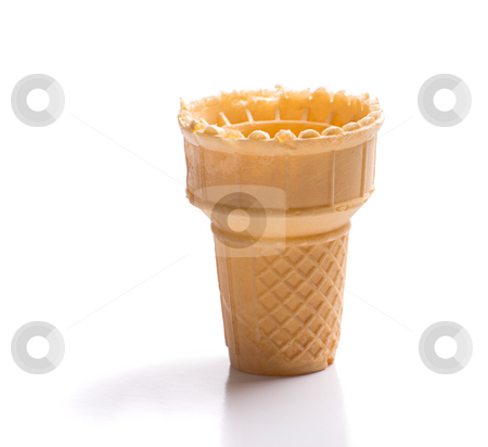 Empty Ice Cream Cone stock photo, An empty ice cream cone shot on a white background with a reflection in front by Richard Nelson