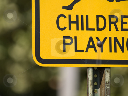 Chidren Playing Sign stock photo, Low angle partial view of a