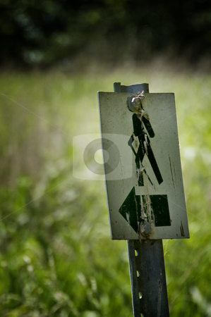 Hiking trail sign stock photo, Straight on view of a