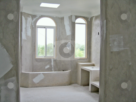 Unfinished bathroom stock photo, Unfinished bathroom in a new residential construction by Shi Liu