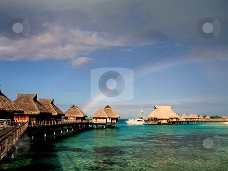 Bora Bora Rainbow stock photo,  by Ryan Dandy