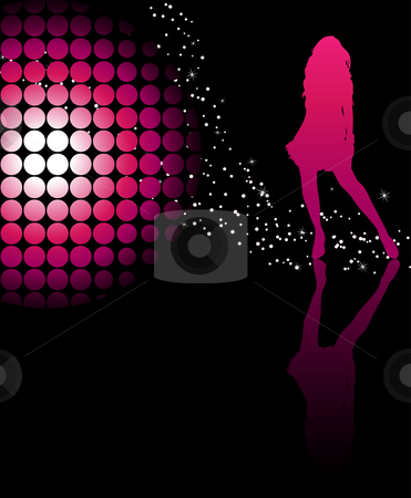 Girl Dancind Pink stock vector clipart, Sexy girl dancing with a disco ball and stars on glossy floor by Augusto Cabral Graphiste Rennes