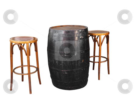 Barrel with Two Cane Stools  stock photo, Barrel with Two Cane Stools isolated with clipping path by Margo Harrison