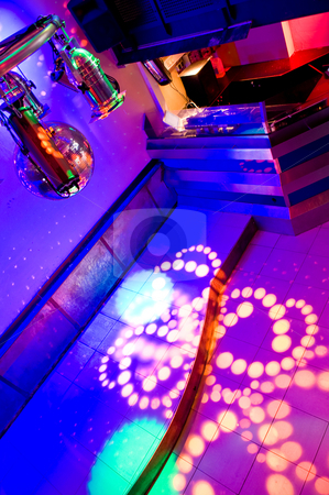 Interior of a nightclub stock photo, The interrior of a very colourful nightclub. by Corepics VOF