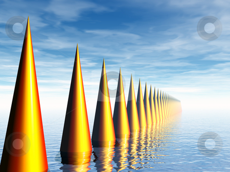 Sting stock photo, Abstract golden things at water landscape - 3d illustration by J?