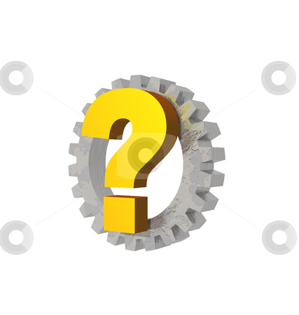 Quest stock photo, Question mark and gearwheel on white background - 3d illustration by J?