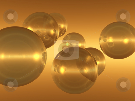 Bubbles stock photo, Flying glass balls - 3d illustration by J?