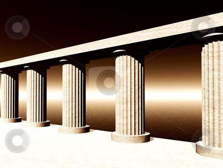 Atlantis stock photo, Old pillars at the ocean - 3d illustration by J?