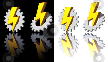 Gear - flash stock photo, Gear-flash logo on white and black backgrouns - 3d illustration by J?