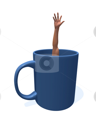 Mug stock photo, Human arm in a coffee cup - 3d illustration by J?