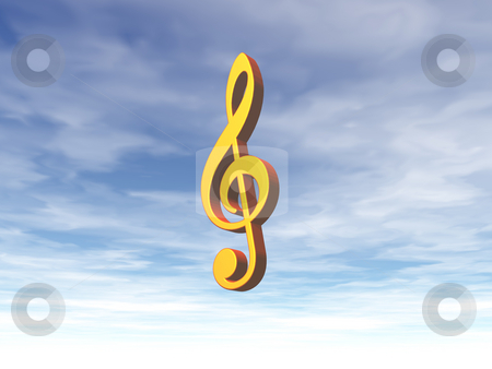 Heavenly sound stock photo, Golden note key on cloudy sky - 3d illustration by J?