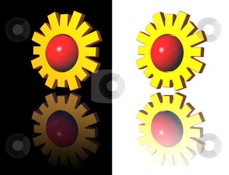 Sun stock photo, Simple sun logo on white and black background - 3d illustration by J?