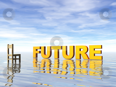 Future stock photo, Future text in water landscape and chair - 3d illustration by J?