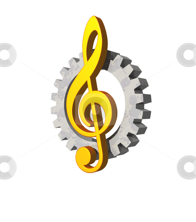 Industrial sound stock photo, Note key and gearwheel  on white background - industrial music logo - 3d illustration by J?