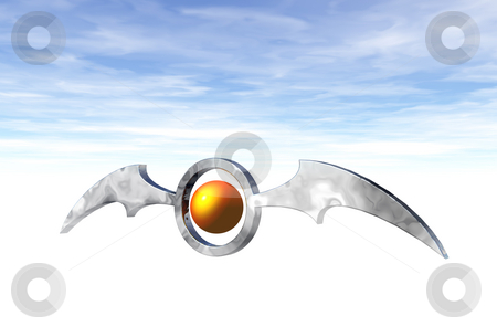 Bat stock photo, Ring with bat wings  on blue sky - 3d illustration by J?