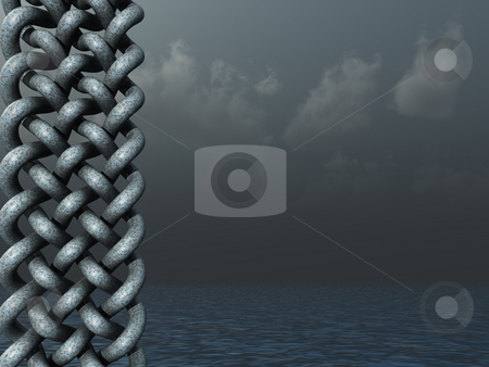 Celtic stock photo, Celtic knots design in dark water landscape - 3d illustration by J?
