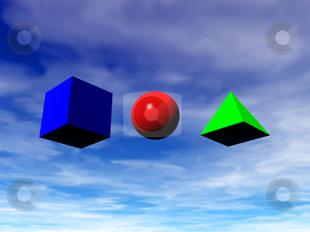 Geometrical basic forms stock photo, Geometrical basic forms, Square, pyramid, ball - 3d illustration by J?