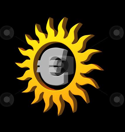 Euro sun stock photo, Euro sun logo on black background - 3d illustration by J?
