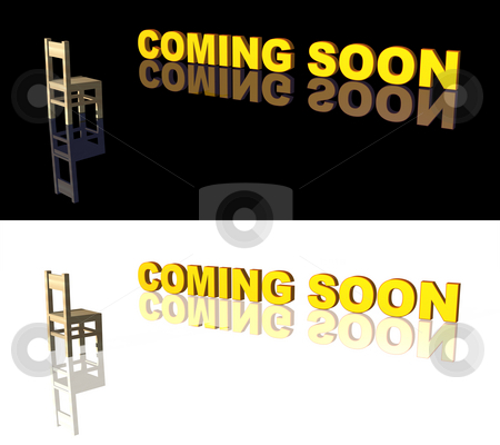 Coming soon stock photo, Coming soon text and chair on white and black background - 3d illustration by J?