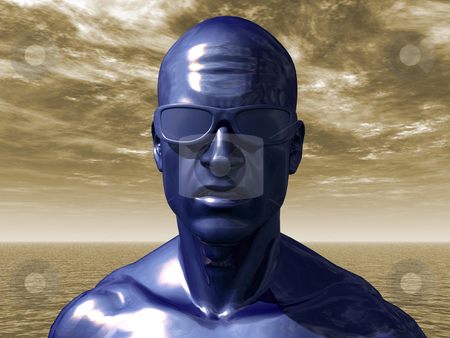 Blue man stock photo, Blue human head with sun glasses - 3d illustration by J?