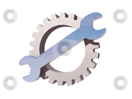 Wrench gear logo stock photo, Wrench and gear logo on white background - 3d illustration by J?