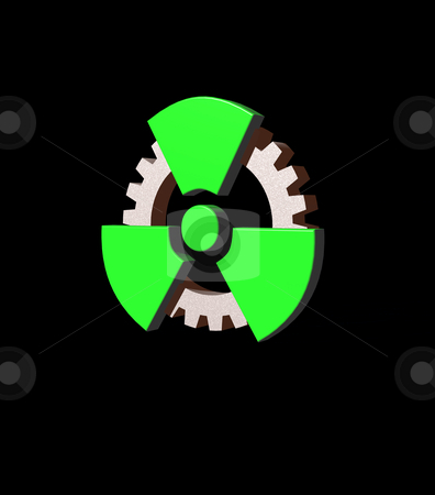 Atomic stock photo, Atomic symbol and gearwheel on black background - 3d illustration by J?