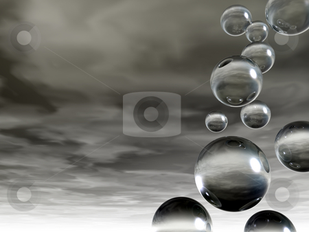 Glass bhubbles stock photo, Flying glass balls on a dark sky - 3d illustration by J?
