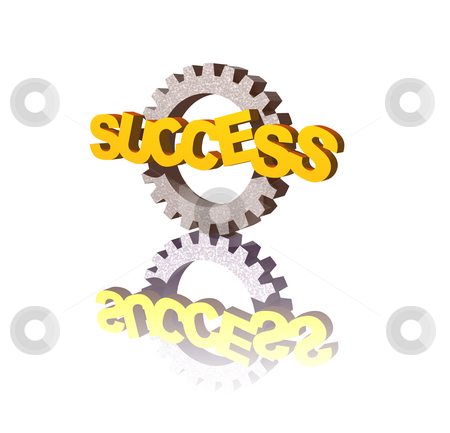 Success stock photo, Success text and gearwheel on white background - 3d illustration by J?