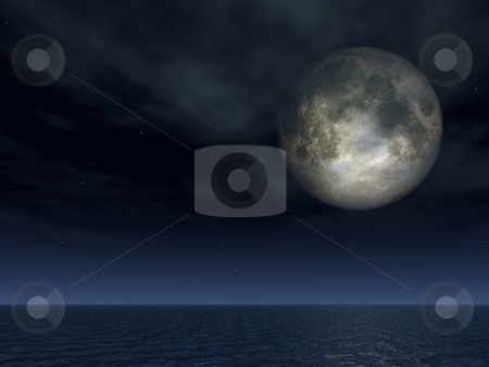 Full moon stock photo, Full moon over the ocean - 3d illustration by J?