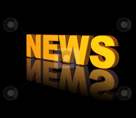News stock photo, Golden news text on black background - 3d illustration by J?