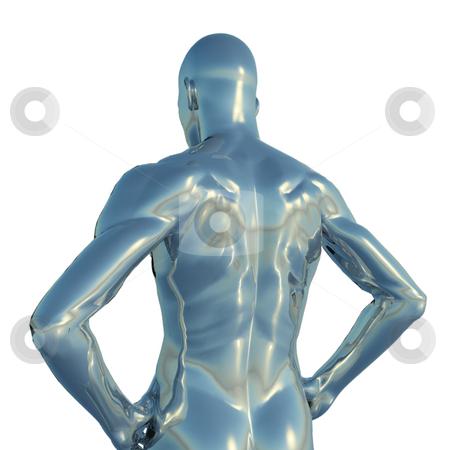 Reflect stock photo, Chrome man figure  - 3d illustration by J?