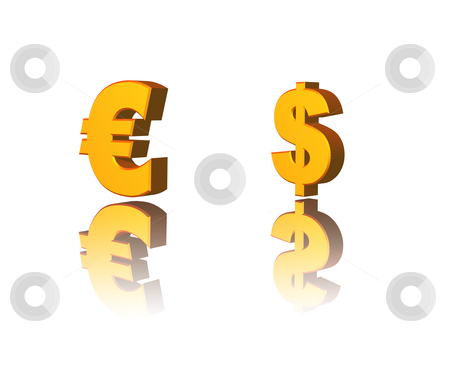 Money stock photo, Golden dollar and euro symbol on white background - 3d illustration by J?