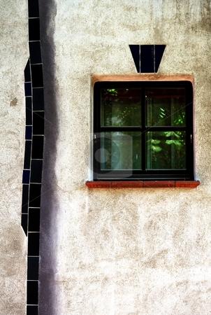 Window in organic facade vertical stock photo, Detail of a window in modern organic facade vertical by Juraj Kovacik