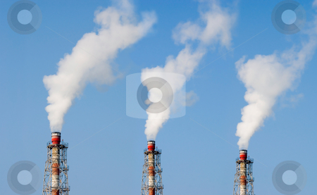 Industry chimney stock photo, Three Industry chimney with clear white smoke by Lawren