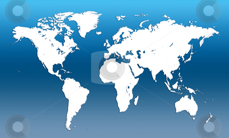 World map stock photo, Map of the world illustration blue background by Jesper Klausen