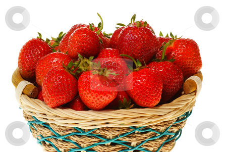 Strawberries stock photo, Ripe strawberries in wicker on white background by Jolanta Dabrowska