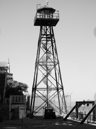 Alcatraz watch tower stock photo, Black and white image of Alcatraz watch tower by Jaime Pharr