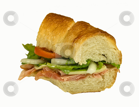 Sandwich stock photo, Sub sandwich stuffed with ham, swiss cheese, lettuce, tomato, onion, and green pepper on fresh baked bread. by Kelly Everill