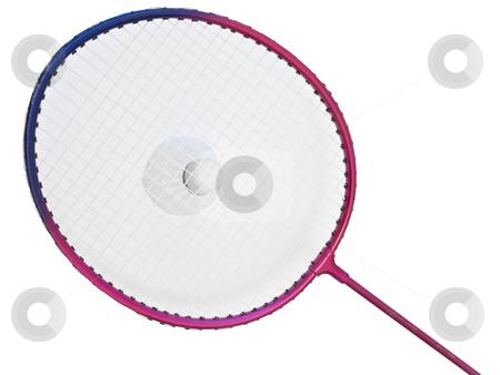 Badminton  stock photo, Badminton racket and shuttlecock against the white background by Sergej Razvodovskij