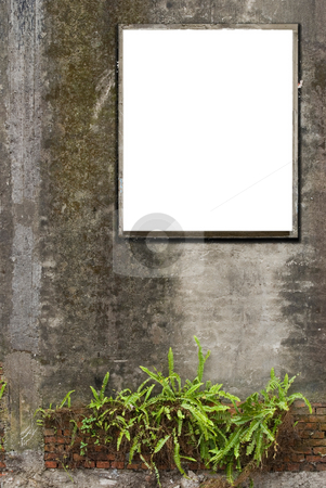 White canvas frames stock photo, White canvas frames are hanging on old concrete wall. by Lawren