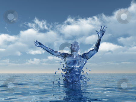 Evolution stock photo, Human figure ascend upward from water - 3d illustration by J?
