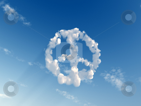 Peace stock photo, Peace symbol on the sky - 3d illustration by J?